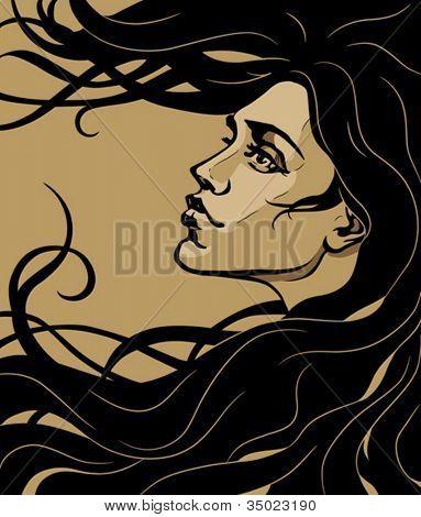 art nouveau style girl profile