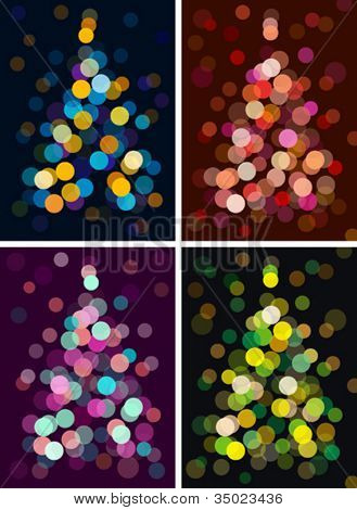 christmas tree with defocused lights. vector