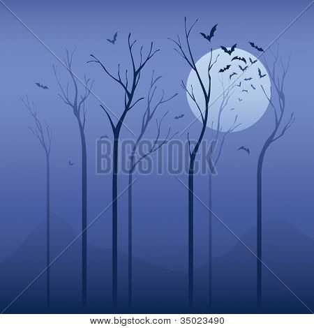 Scary night. Halloween concept:  Dried tree in the night with bats.  Applied in soft color, can be use as halloween background.