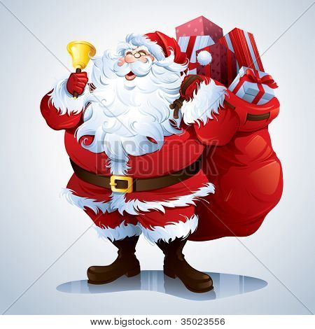 Santa Claus carrying sack full of gifts.