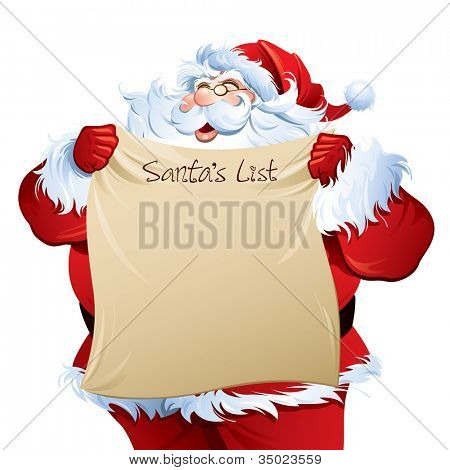 "Santa holding a ""Santa's List""."