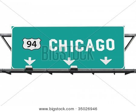 Chicago 94 expressway way sign with hand made font.