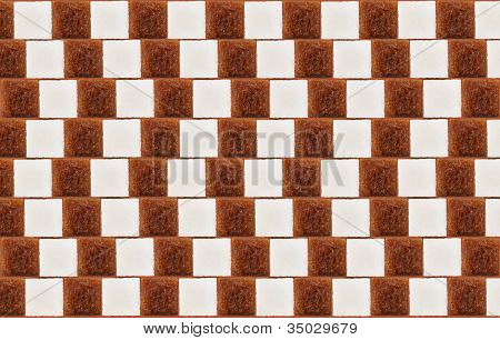 Optical Illusion With Lumps Of White And Cane Sugar