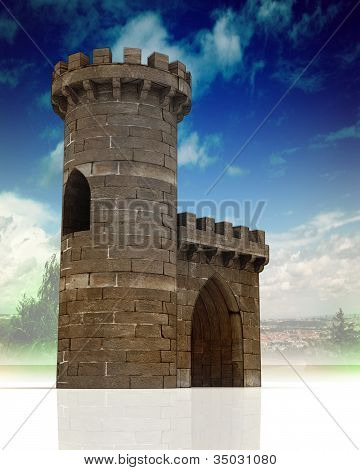 Medieval gate with guard tower with town landscape with blue sky