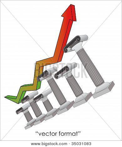 Six Greek Ionic column Of Economy Growing Up