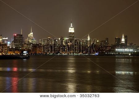 The New York City mid-town skylines