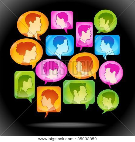 speech bubble icon with people's heads. Vector illustration of the concept of people's communication. File is saved in AI10 EPS