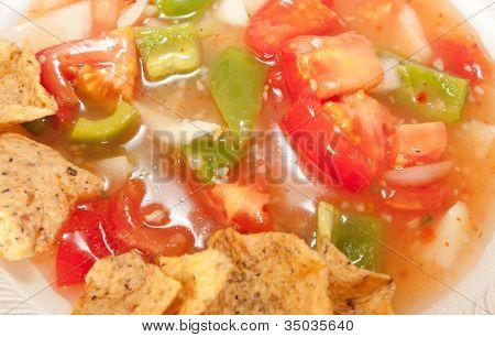 Salsa And Tortilla Chips Close Up