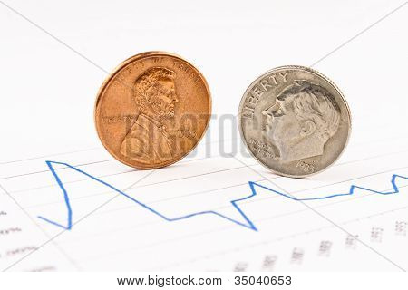 Penny and dime coins standing on chart