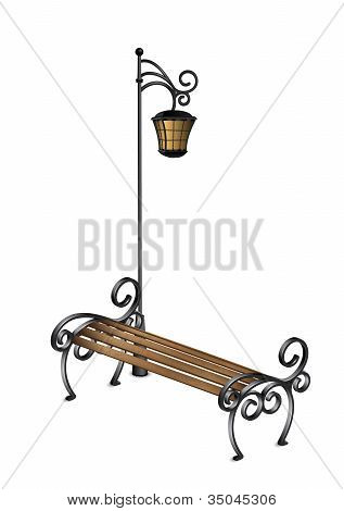 Bench And Street Lamp