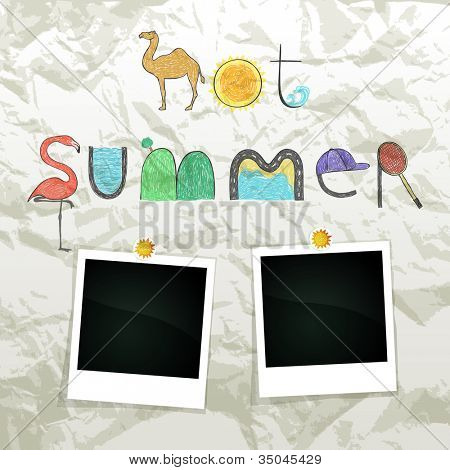 Summer grunge scrapbook with empty photos frame, vector eps10 illustration