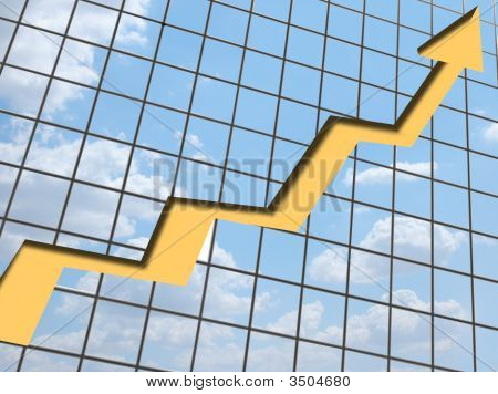 Business Chart Growth Against Cloudy Sky