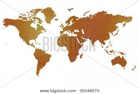 Textured map of the world globe map with brown rock or stone texture, isolated on white background with clipping path.