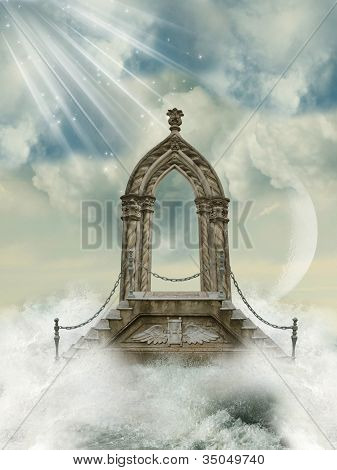 Arch With Stairway In The Sea