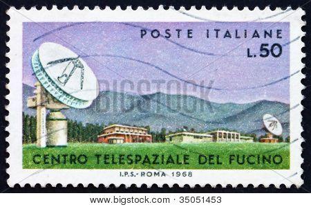 Postage stamp Italy 1968 Parabolic Antenna, Fucino