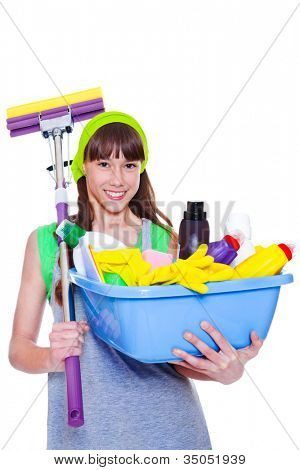 Happy smiling teen holding mop and  basin with chemical detergents