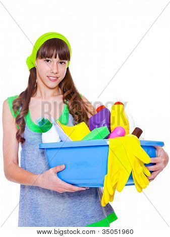 Teen holding basin full with detergents and fibers