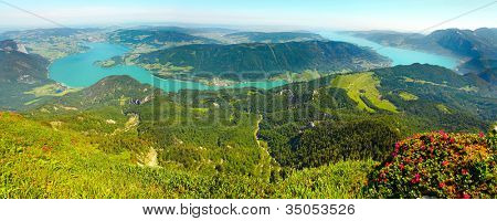 Panoramic view from Schafberg peak (1782m) to Mondsee and Attersee in Salzkammergut, Austria, Europe.