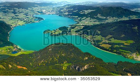 The Mondsee Lake view from Schafberg peak (1782m).