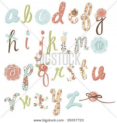 Fonte de flor do vetor original. Incrível mão desenhada alfabeto.