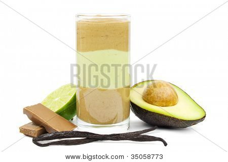 Avocado chocolate smoothie in layers in a glass