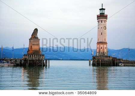 Entrance To Harbor Lindau With Lighthouse And Statue Bavarian Lion