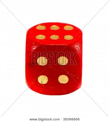 Red Gamble Dice Isolated On White. Gold Dots