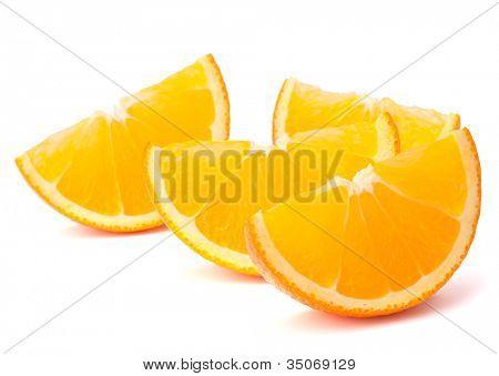 Four orange fruit segments or cantles isolated on white background cutout