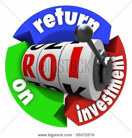 The term ROI on slot machine wheels surrounded by arrows reading Return on Investment, representing a big payout or lucky spin in financial and economic money matters