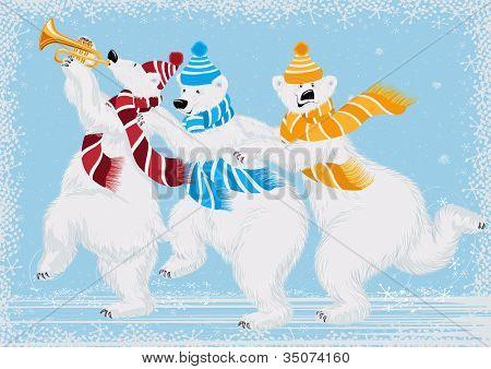 Vector illustration of three funny polar bears in scarves