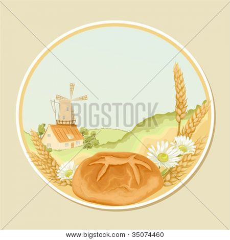 Vector retro label with a mill, wheat stalks, camomiles and fresh bread