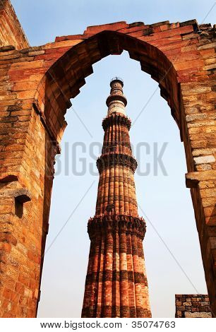 Qutub (Qutb) Minar, the tallest free-standing stone tower in the world, and the tallest minaret in India, constructed with red sandstone and marble in 1199 AD. Unesco World Heritage. India