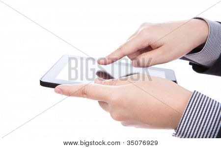 Business man using a touch screen device against white background
