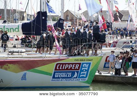OCEAN VILLAGE, SOUTHAMPTON UK - JULY 22: Clipper Round the World Yacht Race winner 'Gold Coast' arrives in Southampton. 22 July 2012