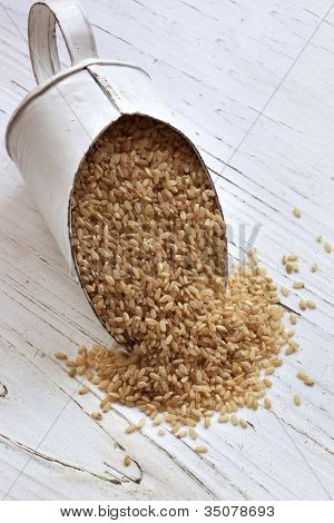 Scoop of brown rice over rustic timber background.