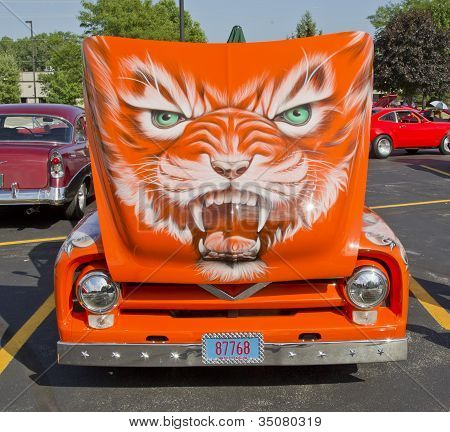 1955 Ford F-100 Orange Cat Hood Design
