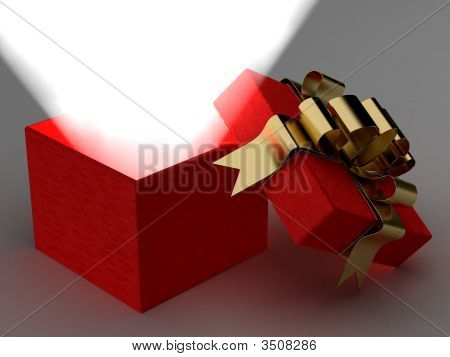 Open Gift Box With A Ray Of Light. 3D Image.