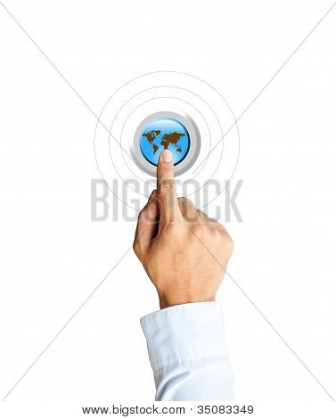 Hand Pressing A Globe Button With Index Finger Extended,