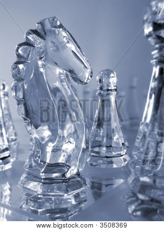 Glass Chess Piece - Strategy In Blue