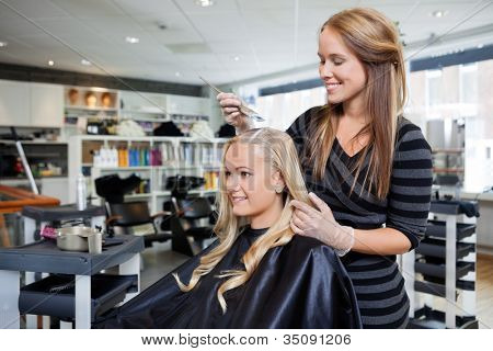 Young woman having her hair dyed by beautician at parlor