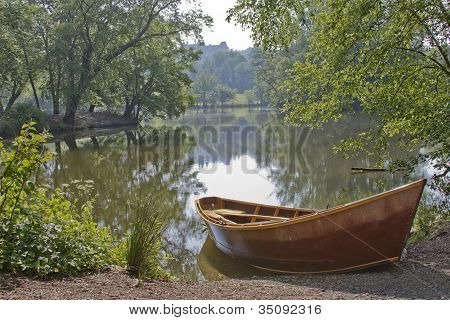 Scenic Lake With Rowboat