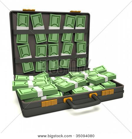 Black briefcase of money. 3d illustration