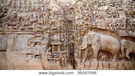 Arjuna's Penance In Mahabalipuram, India