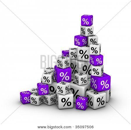 Stapel von Boxen mit Prozentzeichen (Vertrieb oder Finanzen-Konzept)