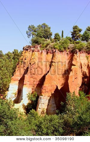 Les Ocres Du Roussillon, Red Rock Formation. Luberon, Provence, France