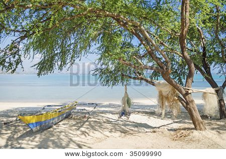 Fishing Boat On Beach In Dili East Timor