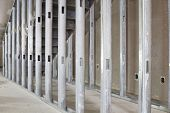 picture of stud  - Metal Stud Framing Under the Steel Staircase in Commercial Space
