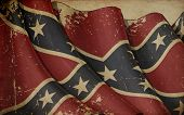 image of rebel flag  - Illustration of a rusty Confederate Rebel Battle Ensign printed on old paper - JPG