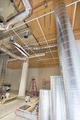 stock photo of hvac  - Heating and Cooling Duct Work for HVAC System in Commercial Space - JPG