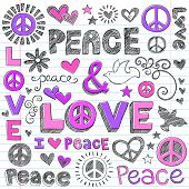 Peace & Love Sketchy Notebook Doodles Design Elements on Lined Sketchbook Paper Background- Vector I